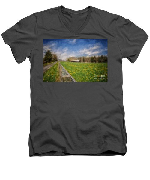 Men's V-Neck T-Shirt featuring the photograph Stone Barn On A Spring Morning by Lois Bryan