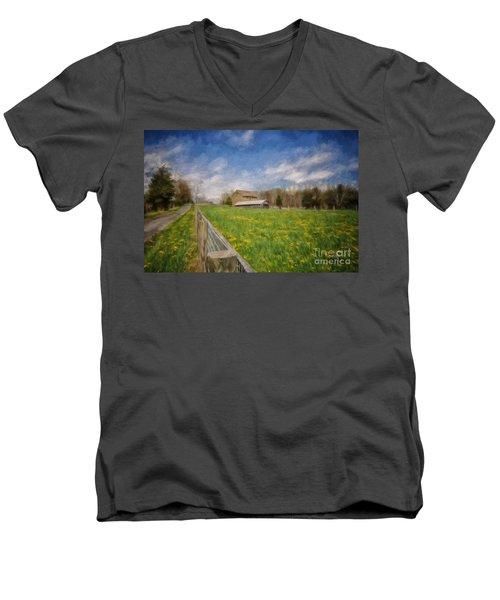 Stone Barn On A Spring Morning Men's V-Neck T-Shirt by Lois Bryan