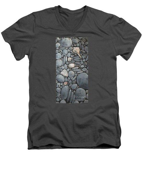 Stone Beach Keepsake Rocky Beach Shells And Stones Men's V-Neck T-Shirt by Mary Hubley