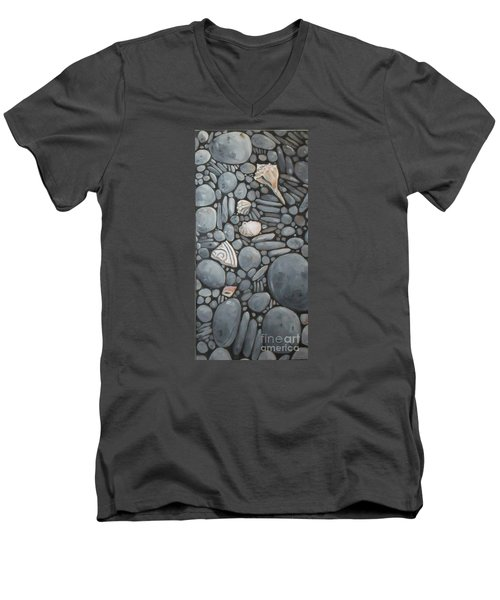 Stone Beach Keepsake Rocky Beach Shells And Stones Men's V-Neck T-Shirt