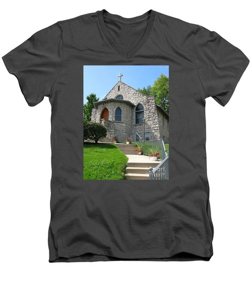 Stone Church Men's V-Neck T-Shirt by Ann Horn