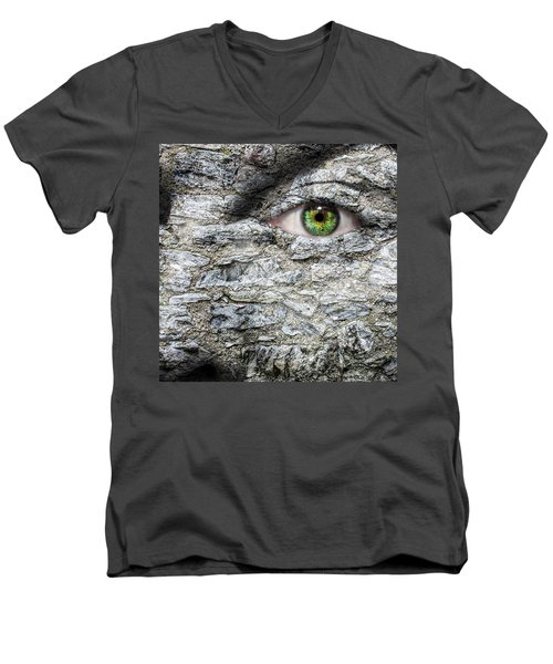 Stone Face Men's V-Neck T-Shirt by Semmick Photo
