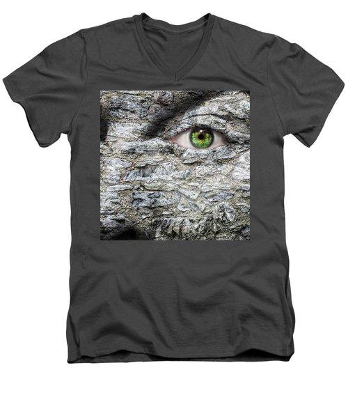 Stone Face Men's V-Neck T-Shirt by Semmick Photo
