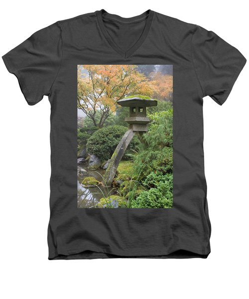 Men's V-Neck T-Shirt featuring the photograph Stone Lantern In Japanese Garden by JPLDesigns