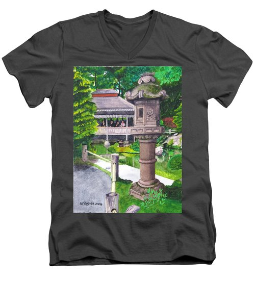 Stone Lantern Men's V-Neck T-Shirt by Mike Robles