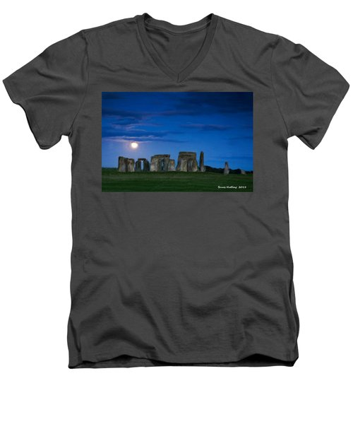 Men's V-Neck T-Shirt featuring the painting Stonehenge At Night by Bruce Nutting