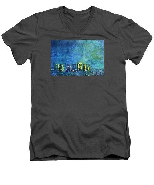 Stonehenge In Moonlight Men's V-Neck T-Shirt