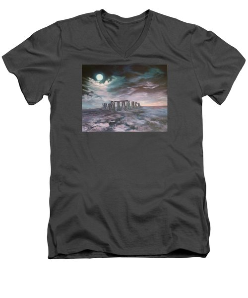 Men's V-Neck T-Shirt featuring the painting Stonehenge In Wiltshire by Jean Walker