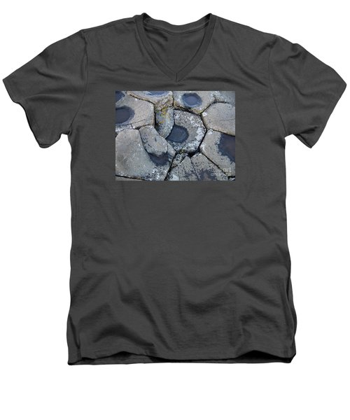 Men's V-Neck T-Shirt featuring the photograph Stones On Giant's Causeway by Marilyn Zalatan