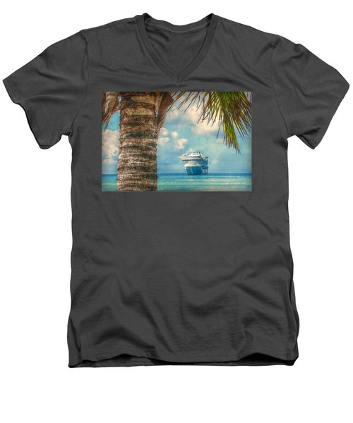 Men's V-Neck T-Shirt featuring the photograph Stopover In Paradise by Hanny Heim
