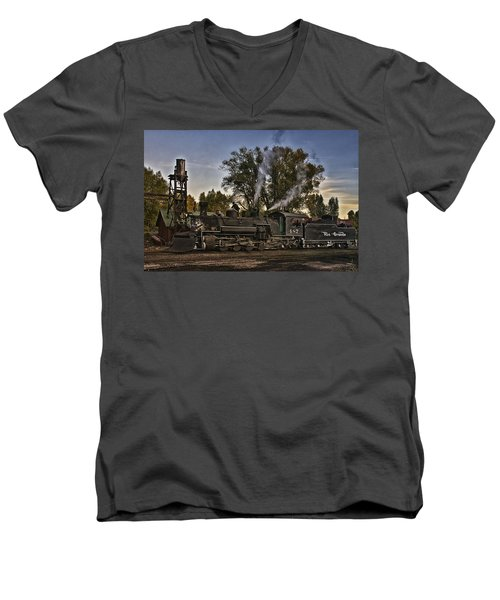 Men's V-Neck T-Shirt featuring the photograph Stopped At Chama by Priscilla Burgers