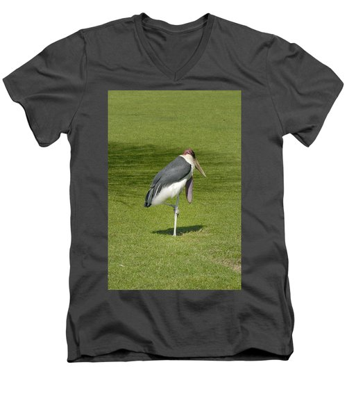 Men's V-Neck T-Shirt featuring the photograph Stork by Charles Beeler