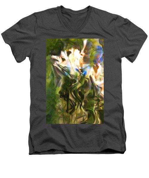 Men's V-Neck T-Shirt featuring the digital art Stork In The Music Garden by Richard Thomas