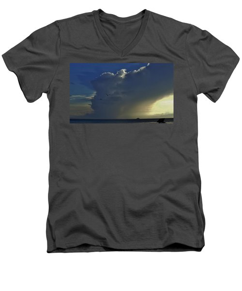 Men's V-Neck T-Shirt featuring the photograph Storm Across Delaware Bay by Ed Sweeney