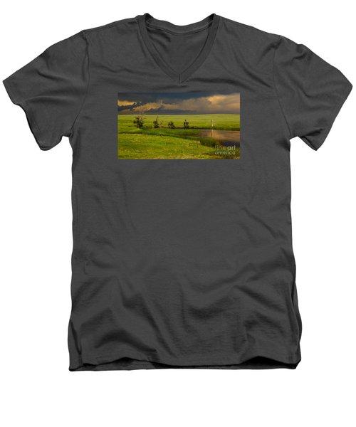 Storm Crossing Prairie 1 Men's V-Neck T-Shirt by Robert Frederick