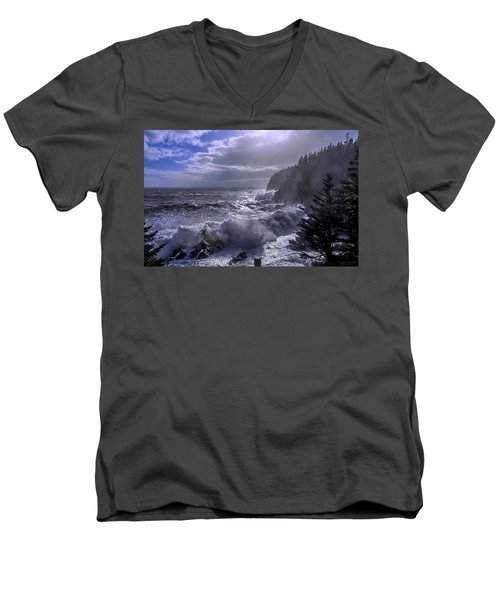Men's V-Neck T-Shirt featuring the photograph Storm Lifting At Gulliver's Hole by Marty Saccone