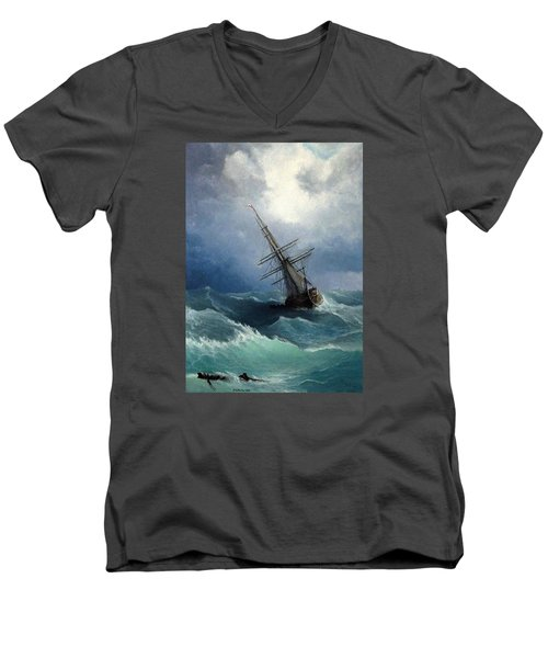 Men's V-Neck T-Shirt featuring the painting Storm by Mikhail Savchenko