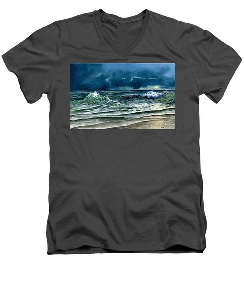 Men's V-Neck T-Shirt featuring the painting Storm Off Yucatan Mexico by Lynne Wright