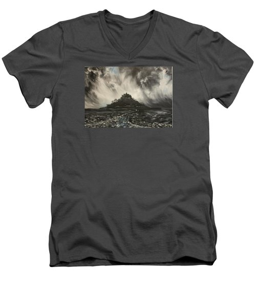 Men's V-Neck T-Shirt featuring the painting Storm Over St Michaels Mount Cornwall by Jean Walker