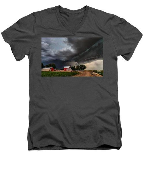 Storm Over The Farm Men's V-Neck T-Shirt by Steven Reed