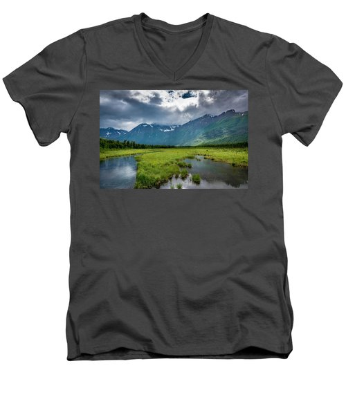 Storm Over The Mountains Men's V-Neck T-Shirt by Andrew Matwijec
