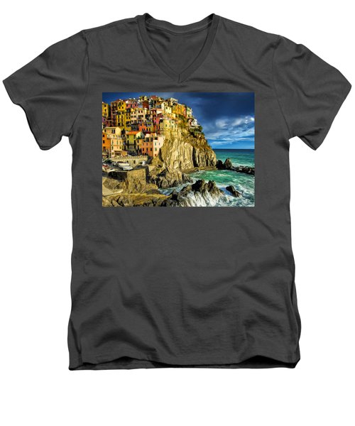 Stormy Day In Manarola - Cinque Terre Men's V-Neck T-Shirt