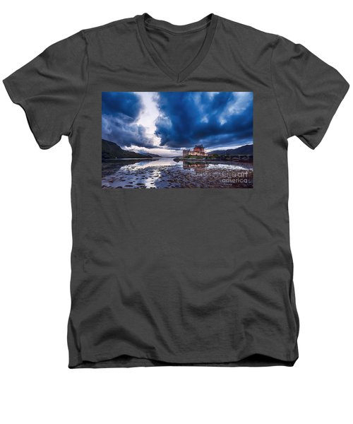 Stormy Skies Over Eilean Donan Castle Men's V-Neck T-Shirt