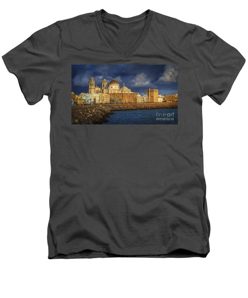 Stormy Skies Over The Cathedral Cadiz Spain Men's V-Neck T-Shirt