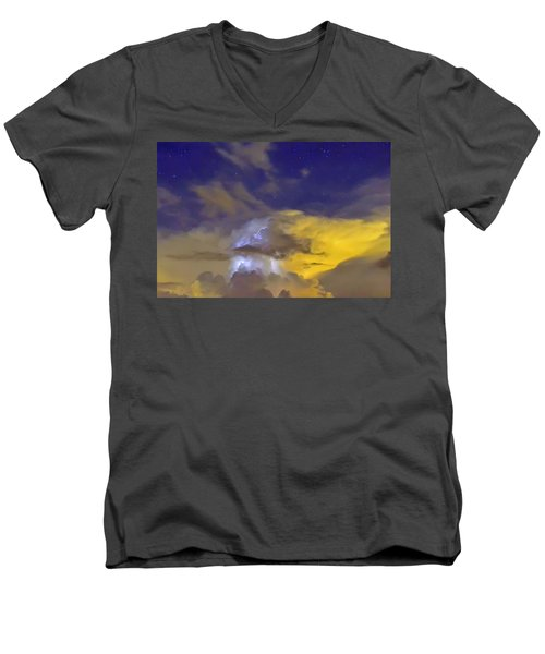 Men's V-Neck T-Shirt featuring the photograph Stormy Stormy Night by Charlotte Schafer