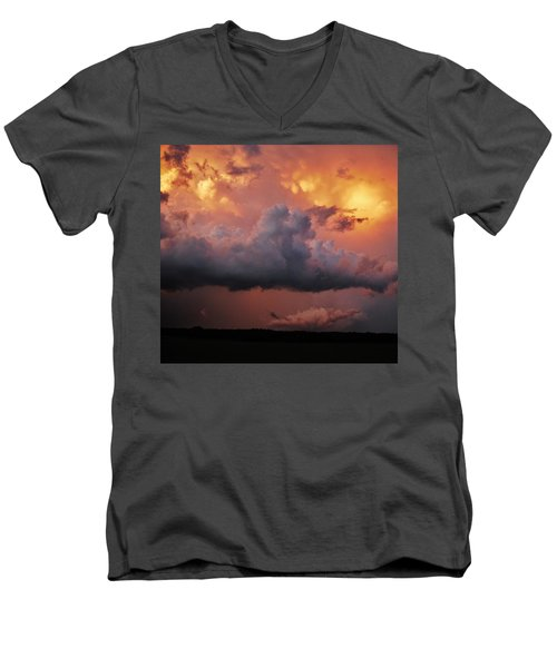 Men's V-Neck T-Shirt featuring the photograph Stormy Sunset by Ed Sweeney