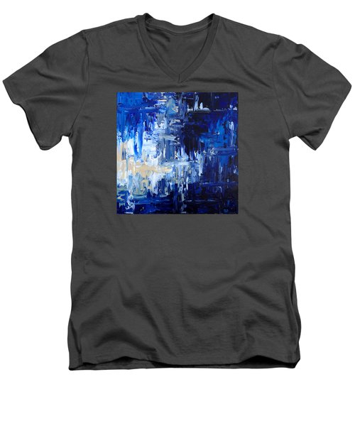 Men's V-Neck T-Shirt featuring the painting Stormy Waves by Rebecca Davis