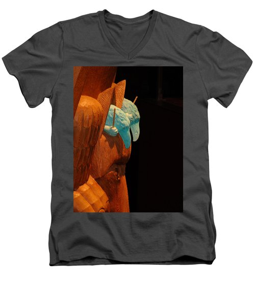 Men's V-Neck T-Shirt featuring the photograph Story Pole by Cheryl Hoyle
