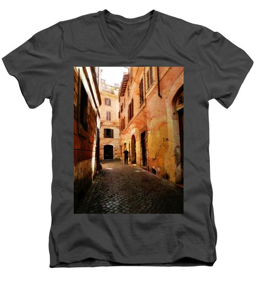 Men's V-Neck T-Shirt featuring the photograph Strade Di Ciottoli by Micki Findlay