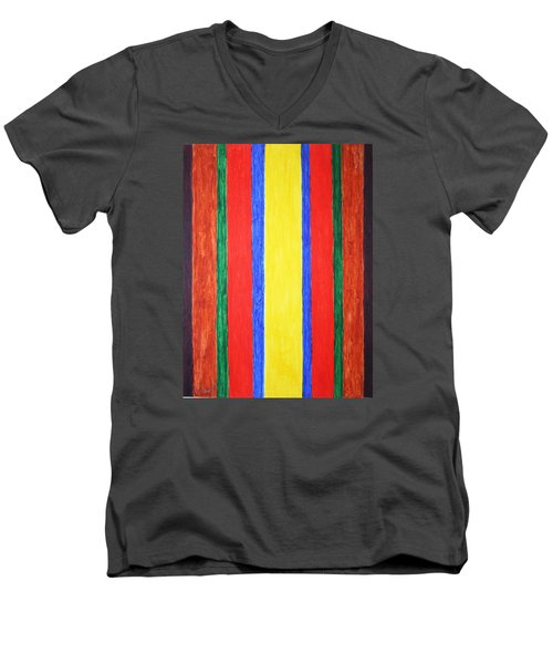 Men's V-Neck T-Shirt featuring the painting Vertical Lines by Stormm Bradshaw