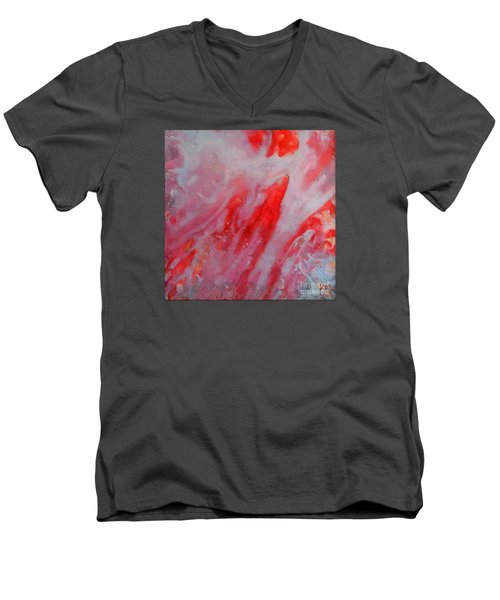 Men's V-Neck T-Shirt featuring the painting Strawberry Ice Cream by Dragica  Micki Fortuna