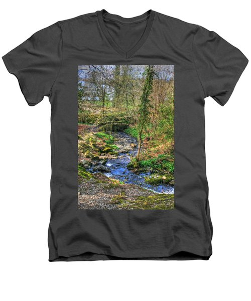 Men's V-Neck T-Shirt featuring the photograph Stream In Wales by Doc Braham