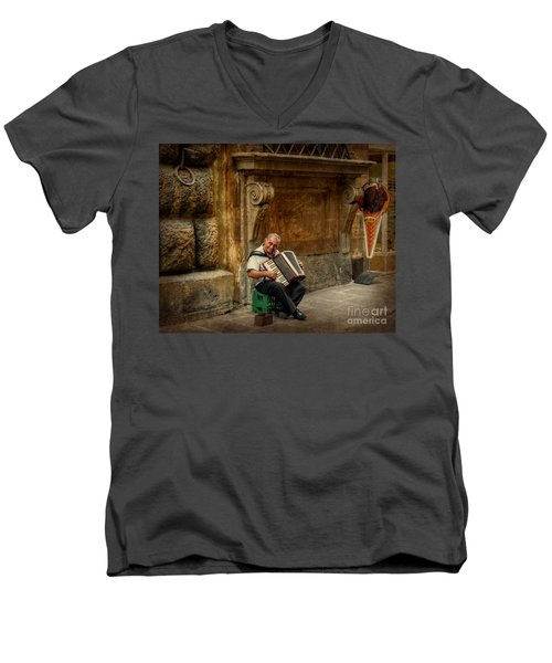 Street  Music Men's V-Neck T-Shirt by Valerie Reeves