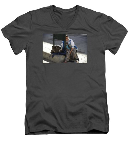Men's V-Neck T-Shirt featuring the photograph Street People - A Touch Of Humanity 10 by Teo SITCHET-KANDA