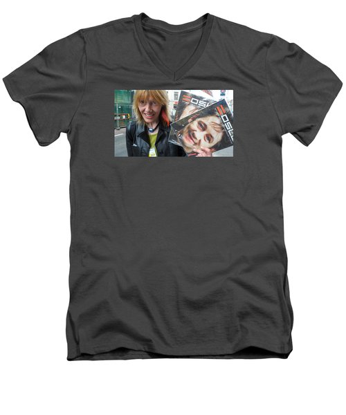 Men's V-Neck T-Shirt featuring the photograph Street People - A Touch Of Humanity 6 by Teo SITCHET-KANDA
