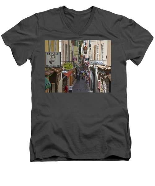 Men's V-Neck T-Shirt featuring the photograph Street Scene In Antibes by Allen Sheffield