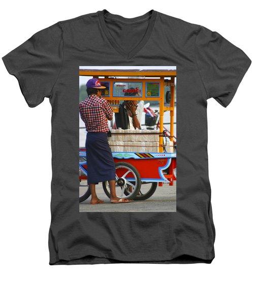 Street Seller At The Foreshore Of The Yangon River Yangon Myanmar Men's V-Neck T-Shirt