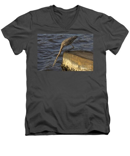 Men's V-Neck T-Shirt featuring the photograph Stretch - Great Blue Heron by Meg Rousher