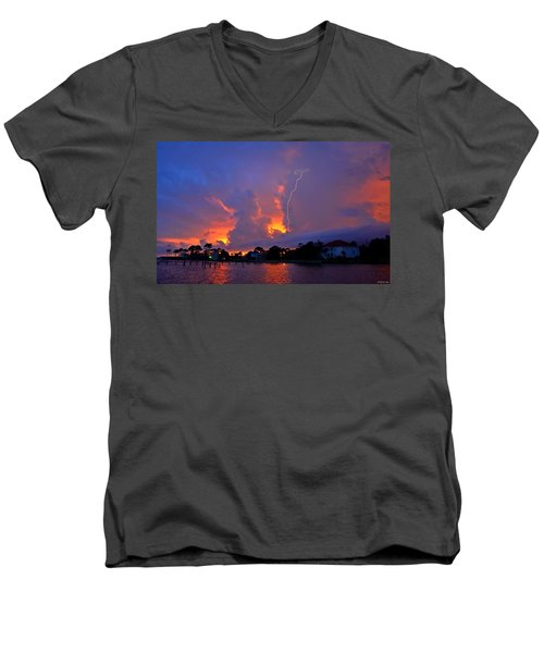 Strike Up The Middle At Sunset Men's V-Neck T-Shirt by Jeff at JSJ Photography