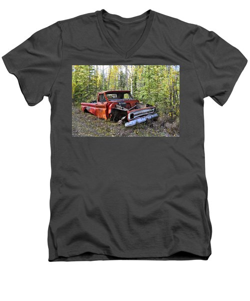 Men's V-Neck T-Shirt featuring the photograph Stripped Chevy by Cathy Mahnke