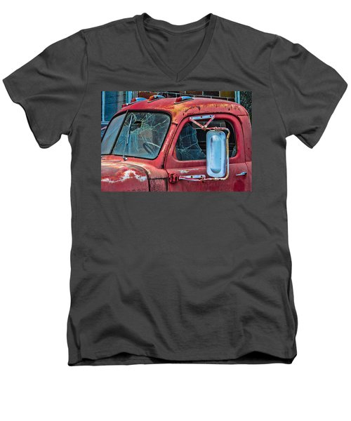 Men's V-Neck T-Shirt featuring the photograph Strong City Red by Steven Bateson