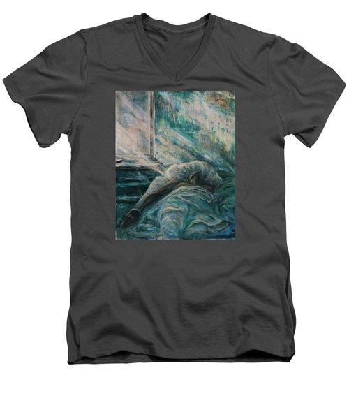 Struggling... Men's V-Neck T-Shirt by Xueling Zou