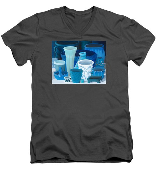 Study In Blue Men's V-Neck T-Shirt by Katherine Young-Beck