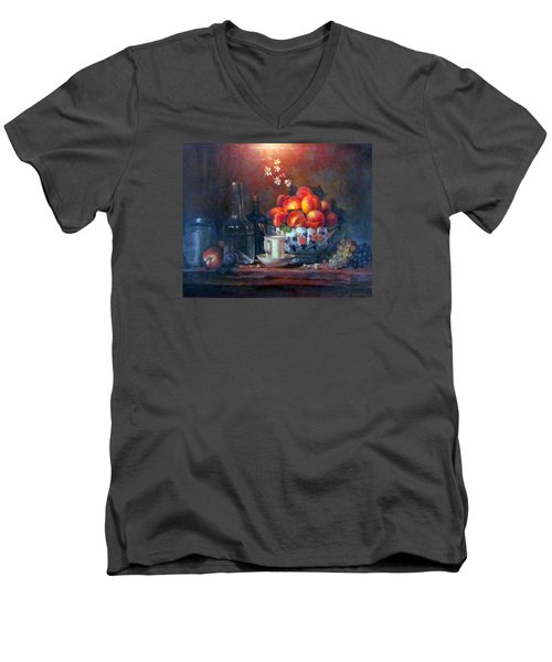 Men's V-Neck T-Shirt featuring the painting Study Of Peaches by Donna Tucker