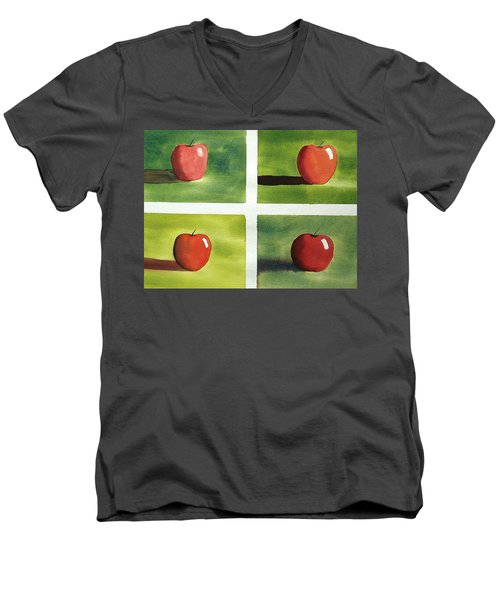 Men's V-Neck T-Shirt featuring the painting Study Red And Green by Richard Faulkner