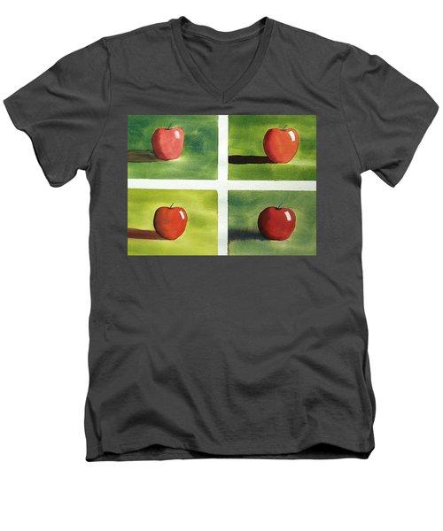 Study Red And Green Men's V-Neck T-Shirt by Richard Faulkner